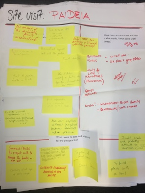 Flipchart describing the group work on Paidea
